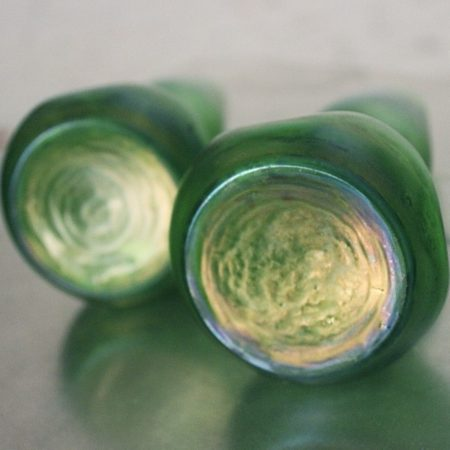Pair of Green Bohemian Glass Vases in Style of Loetz