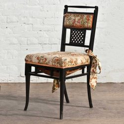 Antique Regency  Chinoiserie Distressed Black Chairs Set of 4