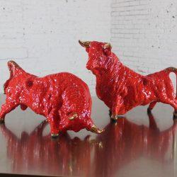 Vintage Royal Haeger Style Red Ceramic Bulls