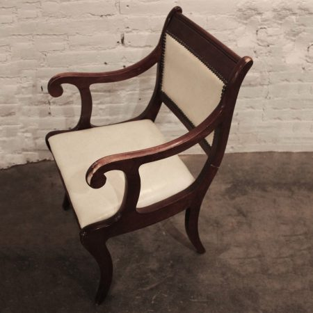 Six Vintage Regency Style Dining Chairs with White Faux Leather Upholstery