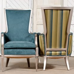 Pair of Neoclassic Chairs in Aqua and Silvered Wood