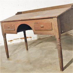 Primitive Painted Pine Wooden Antique Industrial Standing Plan Desk