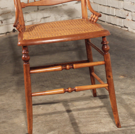 Delicate Antique Side Chair Carved with Cane Seat