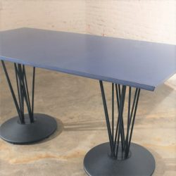 Blue Marquette Double Pedestal Table by Leland International
