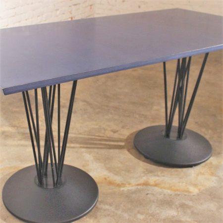 Blue Marquette Double Pedestal Table by Leland International