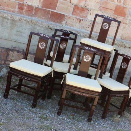 Vintage Chinese Rosewood and Mother of Pearl Dining Chairs, Set of 8