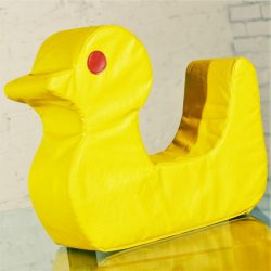 Vintage Mid Century Mod Pop Art Large Yellow Duck Pillow Cushion