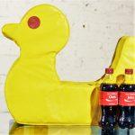 Vintage Mid Century Mod Pop Art Large Yellow Duck Pillow Cushion