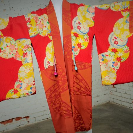 Vintage Japanese Haori Kimono Jacket - Reversable Rust & Red