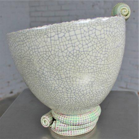 Vintage Sea-Green Ceramic Sculpture by Martin Bleyer