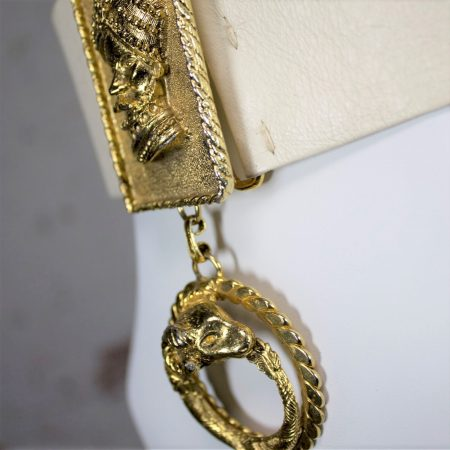 Vintage Christian Dior Leather Belt w/Gold-Tone Sultan in Turban & Rams Head Dangle Buckle