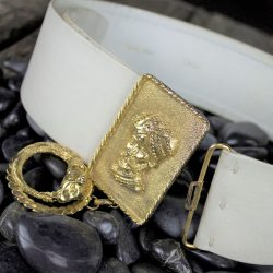 Vintage Christian Dior Leather Belt w/Gold-Tone Sultan in Turban & Rams Head Dangle Buckle
