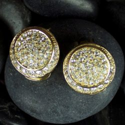 Vintage Christian Dior Round Gold-Tone and Rhinestone Earrings