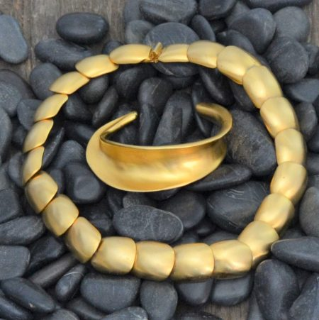Vintage Clara Studio Inc. Brushed Gold-tone Necklace and Bracelet