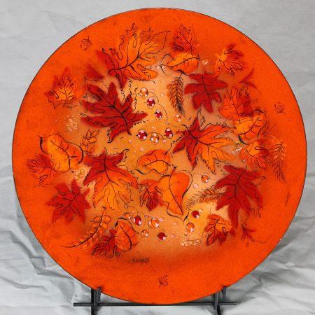Mid Century Vintage Sascha Brastoff Brilliant Orange Enamel Charger with Autumn Leaves Design