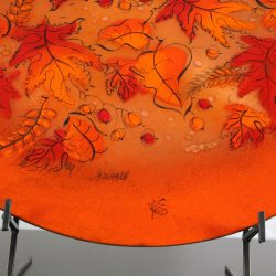 Mid Century Vintage Sascha Brastoff Brilliant Orange Enamel Charger with Autumn Leaves Design