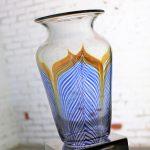 Vintage Correia Art Glass Pulled Feather Vase Cobalt Clear Metallic 1980