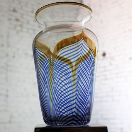 Vintage Correia Art Glass Pulled Feather Vase Cobalt Clear Metallic 1980