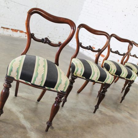 Set of 4 Antique Victorian Rosewood Dining Chairs in the Manner of Gillows