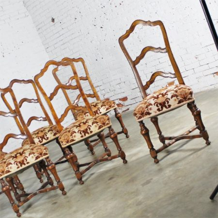 Set of 6 French Louis XIV Style Walnut Ladderback Dining Chairs