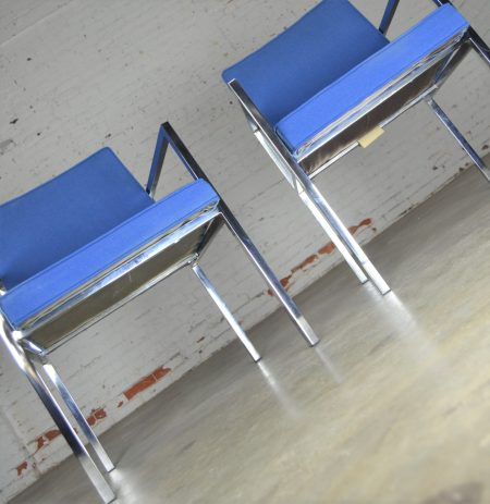 Vintage Pair of Royal Blue Milo Baughman Style Chrome Armchairs by Hibriten