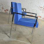 Vintage Pair of Royal Blue Milo Baughman Style Chrome Armchairs by Hibriten
