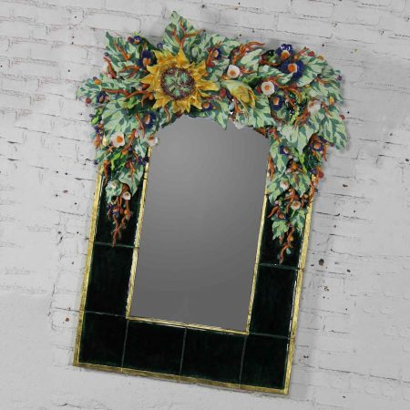 Contemporary Ceramic Floral Large Mirror by George Alexander Mirror: • O/A Height – 55 Inches • O/A Width – 42 Inches • O/A Depth – 7.5 Inches • Mirror Glass Size – 31x17.5 Inches • Mirror Frame Width – 7.5 (sides) & 8.5 (bottom) Inches • Weight – 105 Pounds Crated Size: • Height – 62 Inches • Width – 48 Inches • Depth – 24 Inches • Weight – 365 Pounds