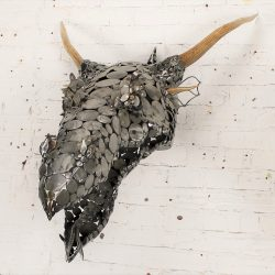Dragon Head Scrap Metal and Antler 3D Wall Sculpture by Jason Startup