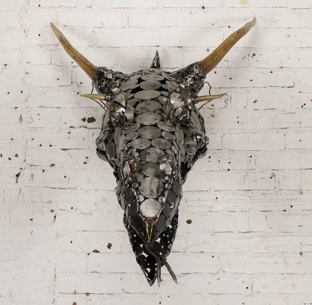 Dragon Head Scrap Metal and Antler 3D Wall Sculpture by Jason Startup