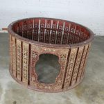 Antique Burmese Orchestra Hsain Wain Drum/Percussion Circle Carved Panel Table with Glass Top