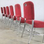 Vintage Art Moderne Streamline Stainless Steel Railroad Dining Chairs with Original Frieze Upholstery by Rota Cline