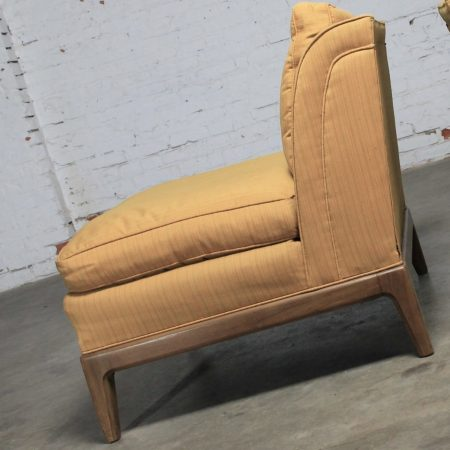 Pair Vintage Mid Century Modern Gold Slipper Chairs by Drexel for Sears Symphony Collection