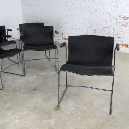 Vintage Black Handkerchief Arm Chairs by Massimo and Lella Vignelli for Knoll Set of Six