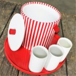Vintage Mid Century Modern Style Red and White Beverage Set Combo Ice Bucket Tumblers and Tray