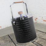 Black Faux Alligator or Crocodile Ice Bucket by Kromex Vintage Mid Century Modern