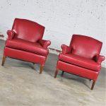 Vintage 1940s Red Vinyl Club Chairs a Pair