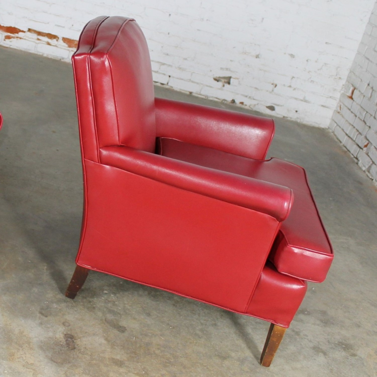 Vintage 1940s Red Vinyl Club Chairs A Pair Warehouse 414