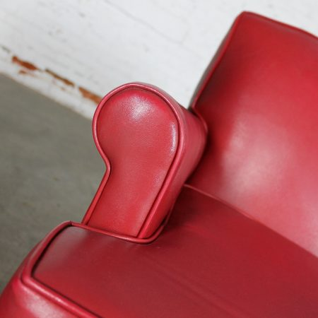 Vintage 1940s Red Vinyl Club Chairs a Pair