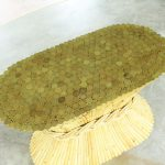 Vintage McGuire Oval Rattan Dining Table Sheaf-of-Wheat Style with Glass Top