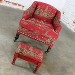 Vintage Petite Red Chinoiserie Armchair and Cricket Footstool