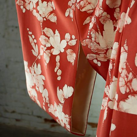 Vintage Japanese Vermillion Red and Cream Floral Full Length Silk Kimono