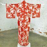 Vintage Japanese Vermillion Red and Cream Floral Full Length Silk Kimono