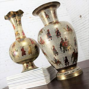 Unmatched Pair Etched and Enameled Cast Brass Vases Kashmiri Indo Persian Monumental Size