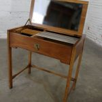 Compass by Drexel Campaign Style Lift Top Make-Up Vanity Vintage Mid Century