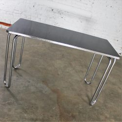 Art Deco Streamline Machine Age Chrome and Black Sofa Entry or Dinette Table