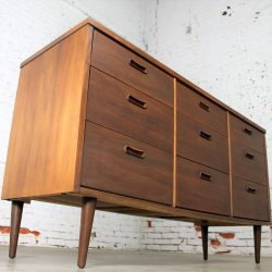 Mid Century Walnut Danish Modern Style Nine Drawer Dresser