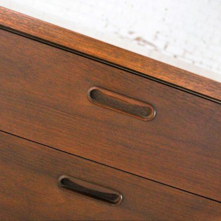 Mid Century Walnut Danish Modern Style Nine Drawer Dresser