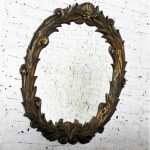 Large Antique Foliate Round Plaster Mirror Style of Serge Roche