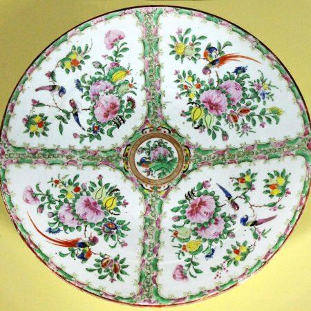 Large Antique Chinese Qing Rose Medallion Porcelain Charger or Platter Birds and Floral