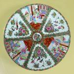 Large Antique Chinese Qing Rose Medallion Porcelain Charger or Platter Traditional Design